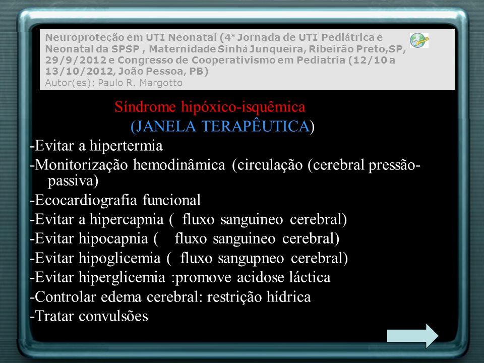Síndrome hipóxico-isquêmica (JANELA TERAPÊUTICA) -Evitar a hipertermia