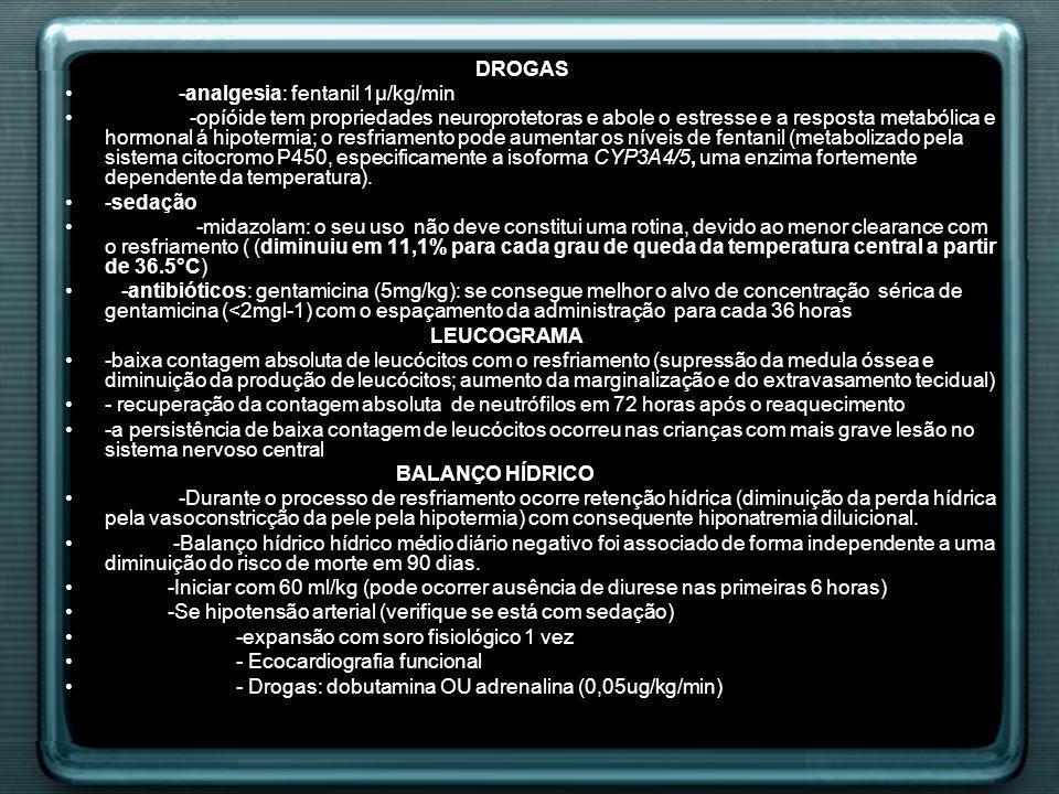 DROGAS -analgesia: fentanil 1µ/kg/min.