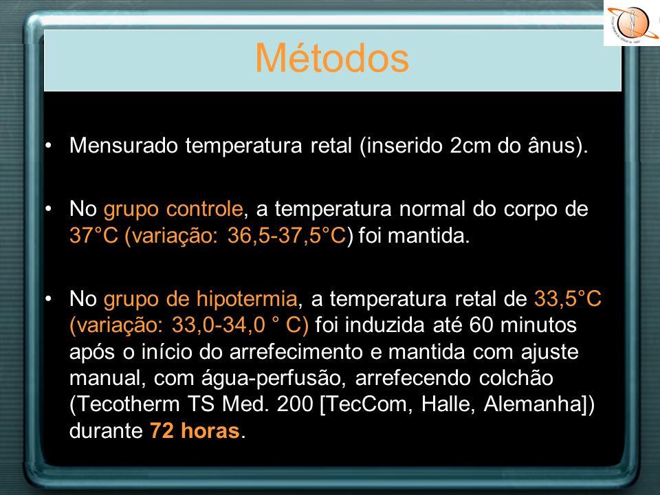 Métodos Mensurado temperatura retal (inserido 2cm do ânus).
