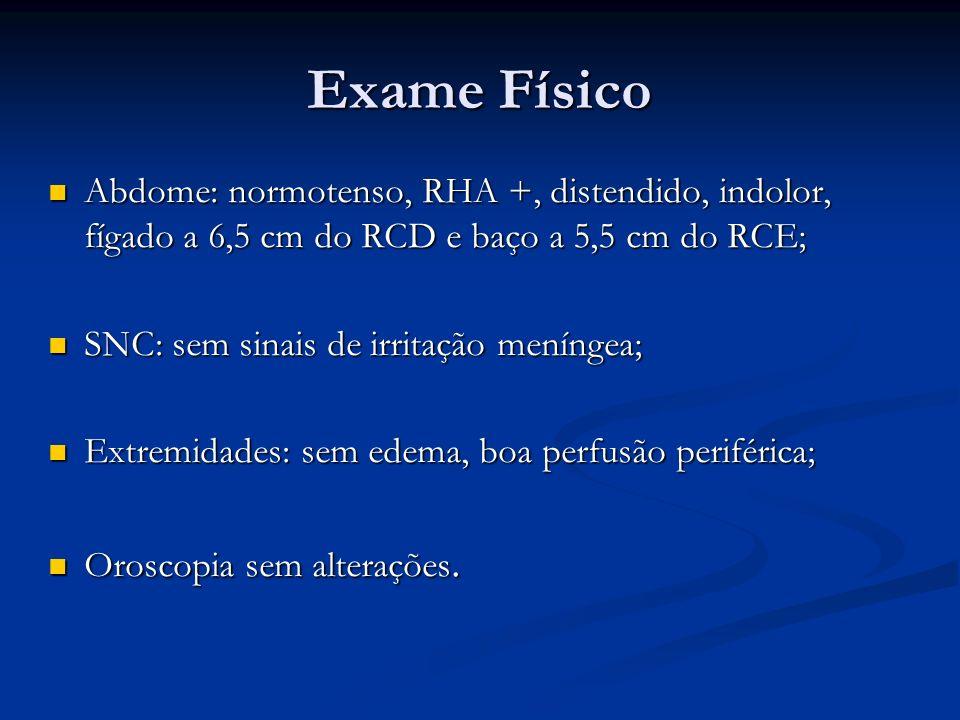 Exame Físico Abdome: normotenso, RHA +, distendido, indolor, fígado a 6,5 cm do RCD e baço a 5,5 cm do RCE;