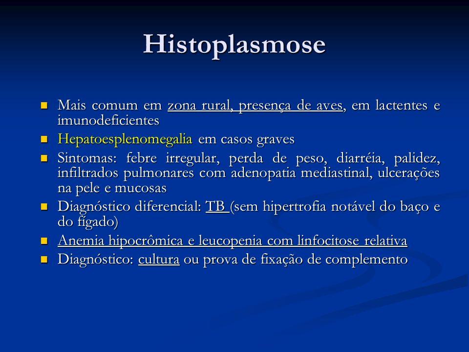 HistoplasmoseMais comum em zona rural, presença de aves, em lactentes e imunodeficientes. Hepatoesplenomegalia em casos graves.