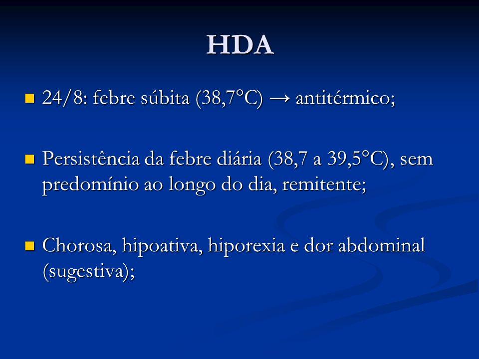 HDA 24/8: febre súbita (38,7°C) → antitérmico;