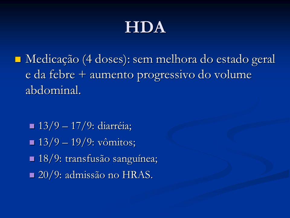 HDAMedicação (4 doses): sem melhora do estado geral e da febre + aumento progressivo do volume abdominal.