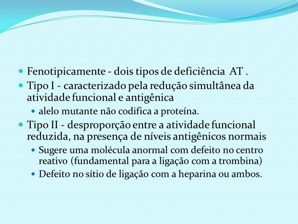Fenotipicamente - dois tipos de deficiência AT .