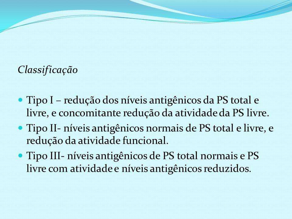ClassificaçãoTipo I – redução dos níveis antigênicos da PS total e livre, e concomitante redução da atividade da PS livre.
