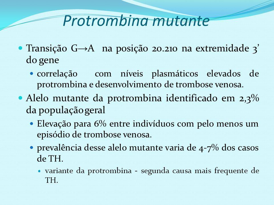 Protrombina mutante Transição G→A na posição 20.210 na extremidade 3' do gene.