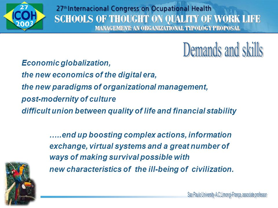 Demands and skills Economic globalization,