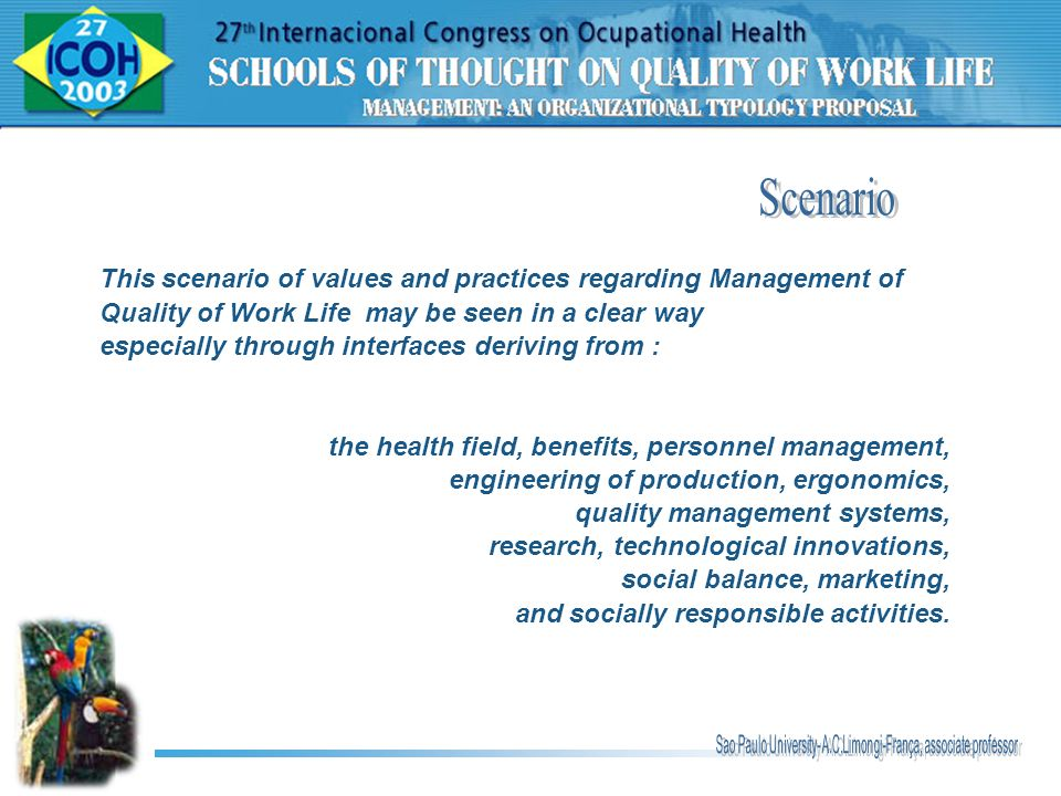 Scenario This scenario of values and practices regarding Management of