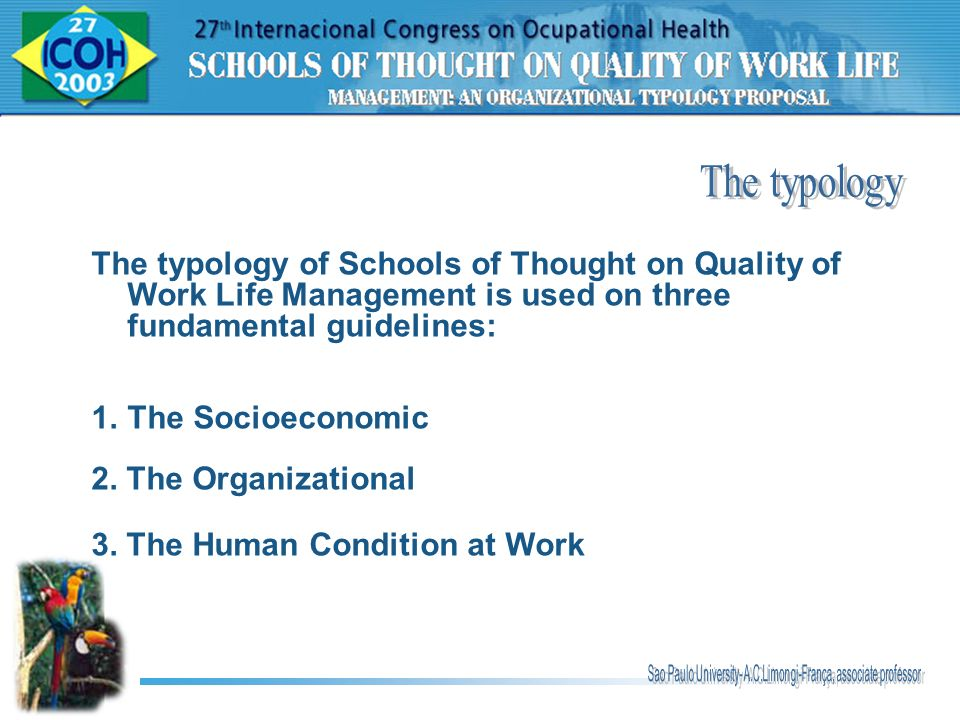 The typology The typology of Schools of Thought on Quality of Work Life Management is used on three fundamental guidelines: