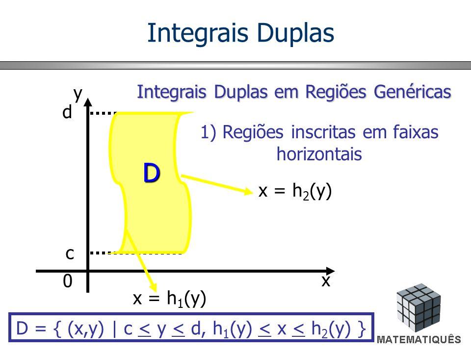 Integrais Duplas D y Integrais Duplas em Regiões Genéricas d