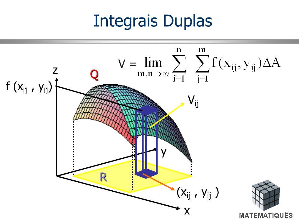 Integrais Duplas V = z Q f (xij , yij) Vij y R (xij , yij ) x