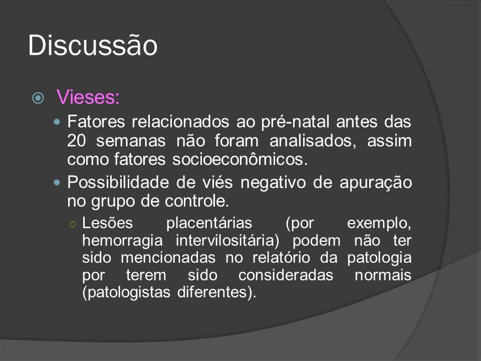 Discussão Vieses: Fatores relacionados ao pré-natal antes das 20 semanas não foram analisados, assim como fatores socioeconômicos.