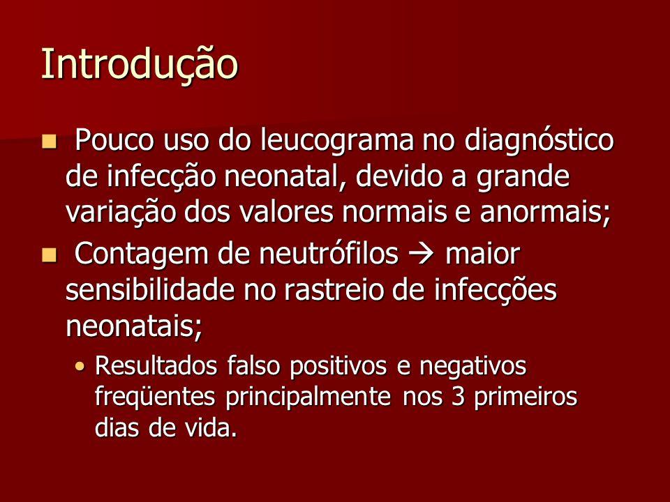 Introdução Pouco uso do leucograma no diagnóstico de infecção neonatal, devido a grande variação dos valores normais e anormais;