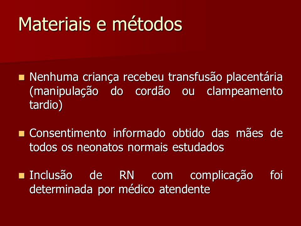 Materiais e métodos Nenhuma criança recebeu transfusão placentária (manipulação do cordão ou clampeamento tardio)