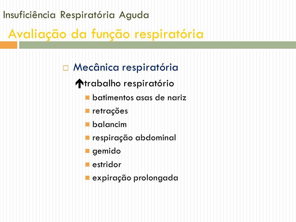 Insuficiência Respiratória Aguda Avaliação da função respiratória