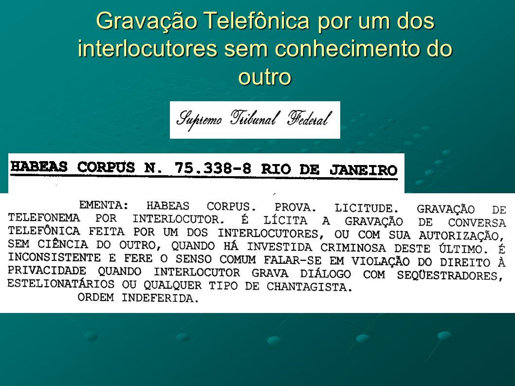 Gravação Telefônica por um dos interlocutores sem conhecimento do outro