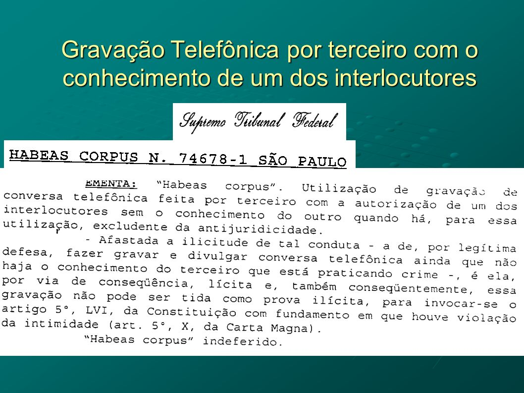 Gravação Telefônica por terceiro com o conhecimento de um dos interlocutores