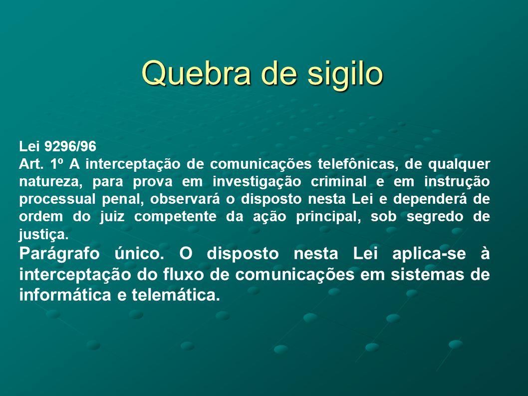 Quebra de sigilo Lei 9296/96.