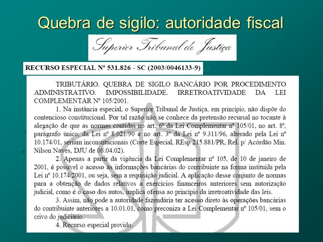 Quebra de sigilo: autoridade fiscal