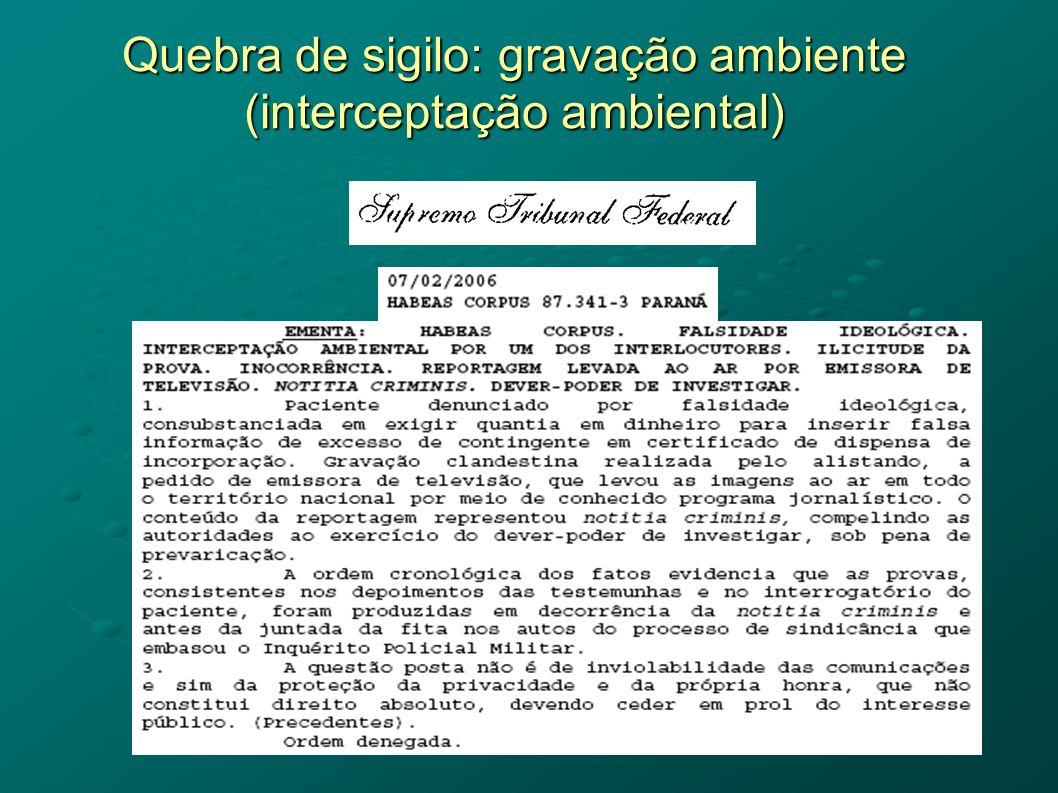 Quebra de sigilo: gravação ambiente (interceptação ambiental)