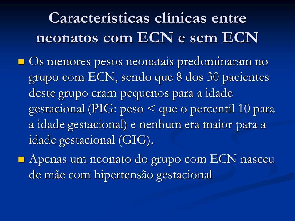 Características clínicas entre neonatos com ECN e sem ECN