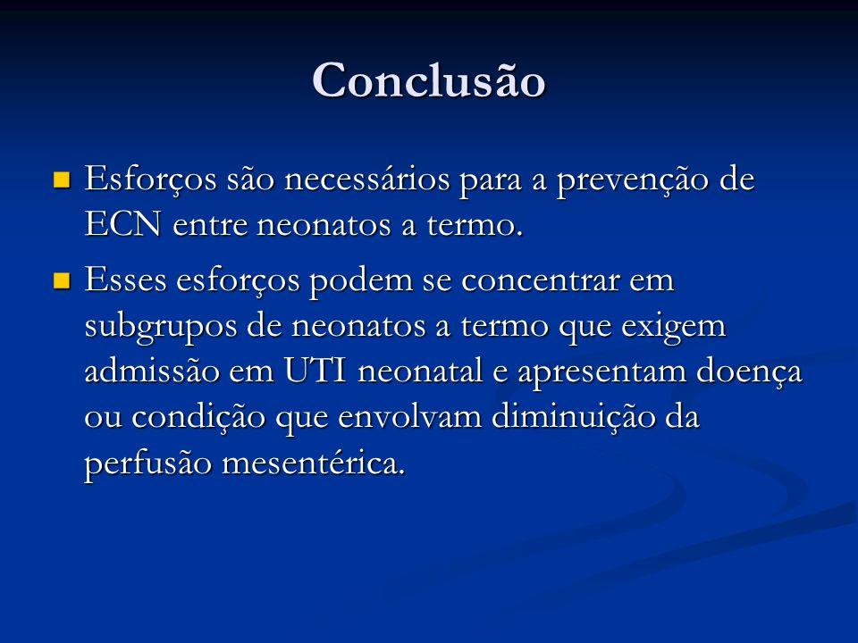 Conclusão Esforços são necessários para a prevenção de ECN entre neonatos a termo.