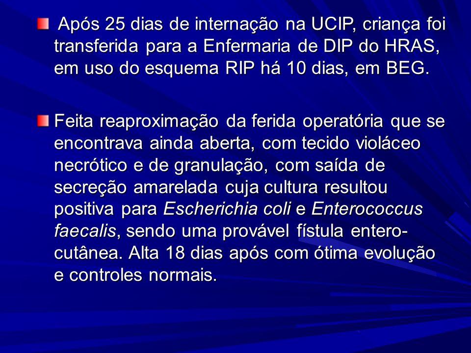 Após 25 dias de internação na UCIP, criança foi transferida para a Enfermaria de DIP do HRAS, em uso do esquema RIP há 10 dias, em BEG.