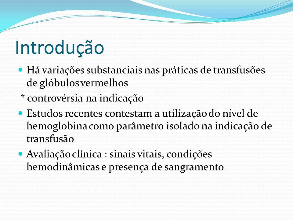 Introdução Há variações substanciais nas práticas de transfusões de glóbulos vermelhos. * controvérsia na indicação.