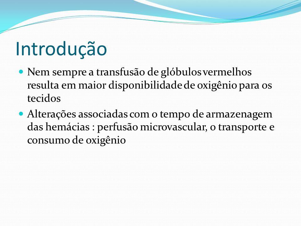 Introdução Nem sempre a transfusão de glóbulos vermelhos resulta em maior disponibilidade de oxigênio para os tecidos.