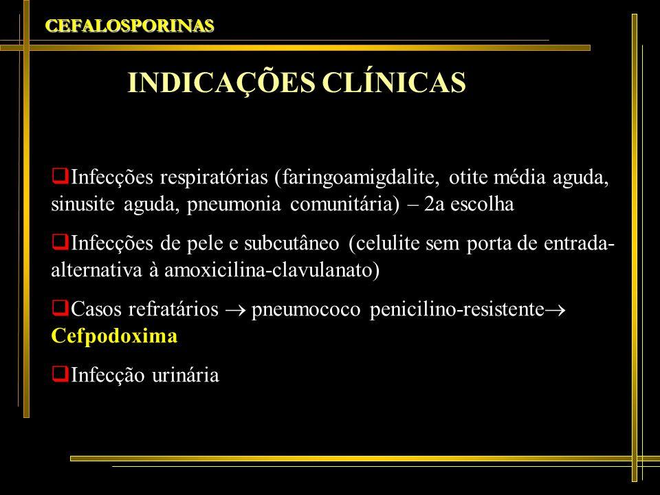 CEFALOSPORINASINDICAÇÕES CLÍNICAS.