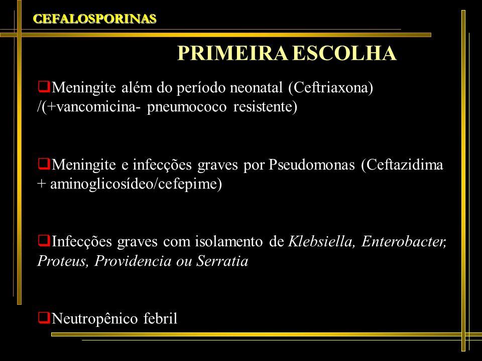 CEFALOSPORINAS PRIMEIRA ESCOLHA. Meningite além do período neonatal (Ceftriaxona) /(+vancomicina- pneumococo resistente)