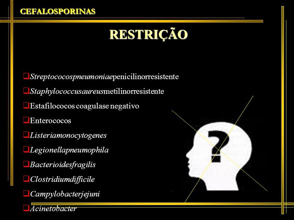 RESTRIÇÃO CEFALOSPORINAS Streptococospneumoniaepenicilinorresistente