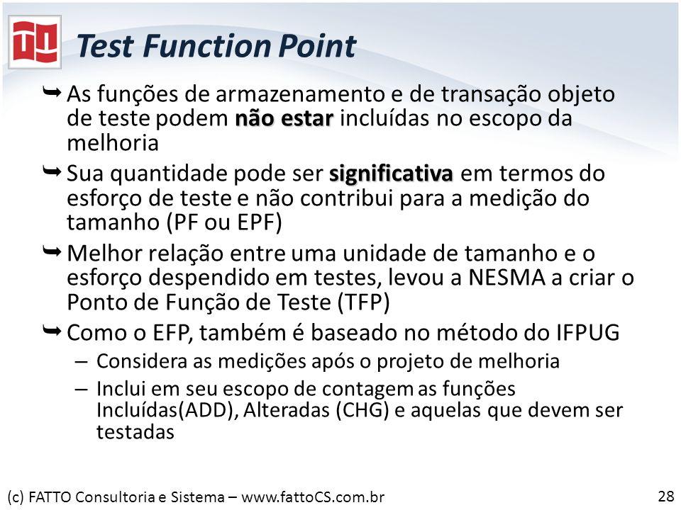 Test Function PointAs funções de armazenamento e de transação objeto de teste podem não estar incluídas no escopo da melhoria.