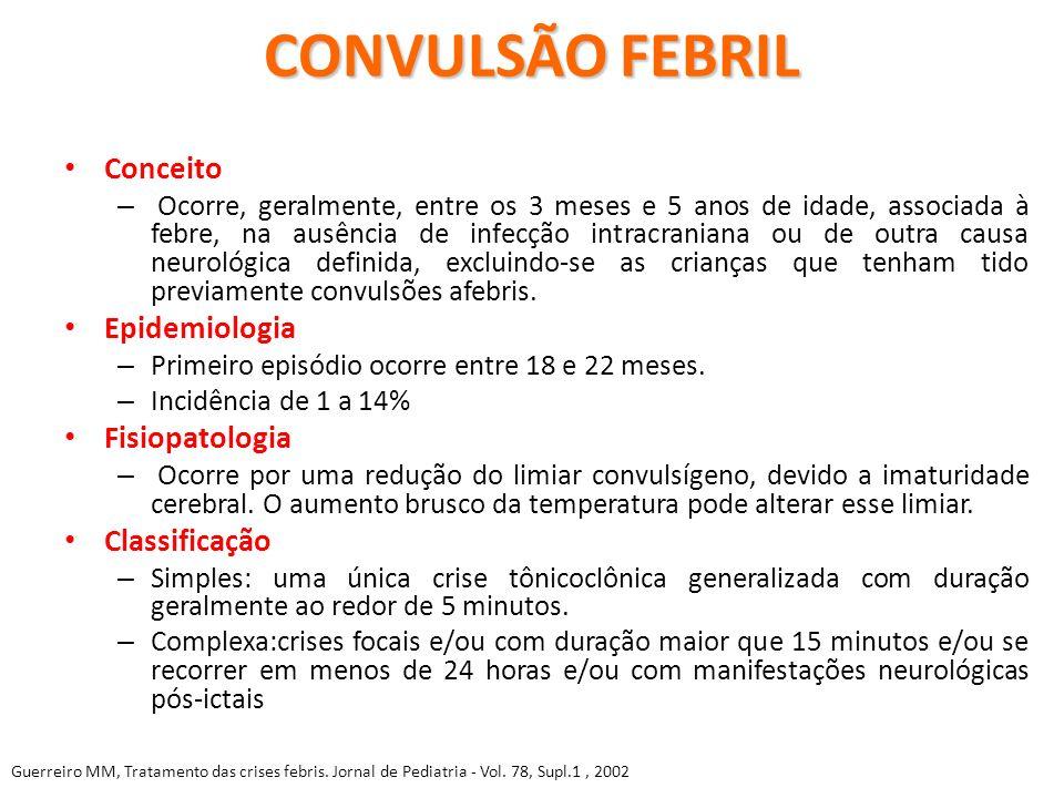 CONVULSÃO FEBRIL Conceito Epidemiologia Fisiopatologia Classificação