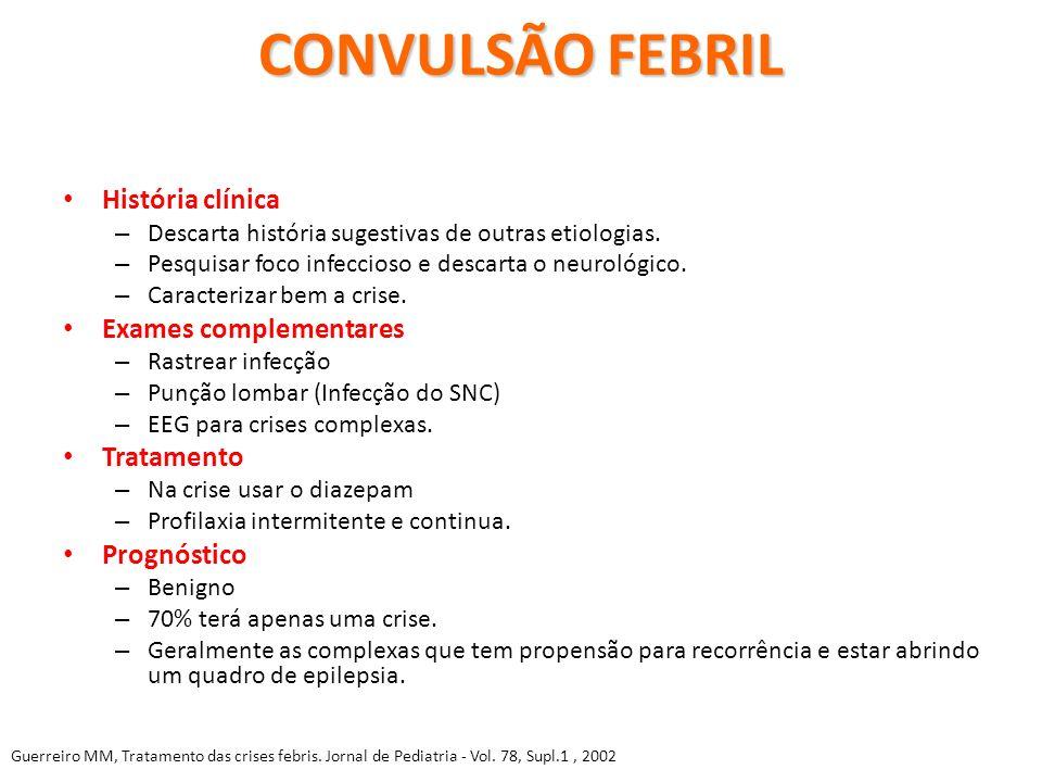 CONVULSÃO FEBRIL História clínica Exames complementares Tratamento