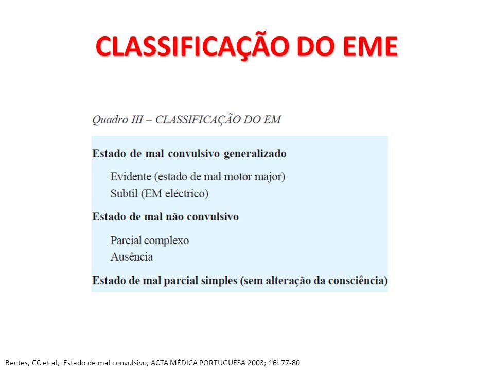 CLASSIFICAÇÃO DO EME Bentes, CC et al, Estado de mal convulsivo, ACTA MÉDICA PORTUGUESA 2003; 16: 77-80.