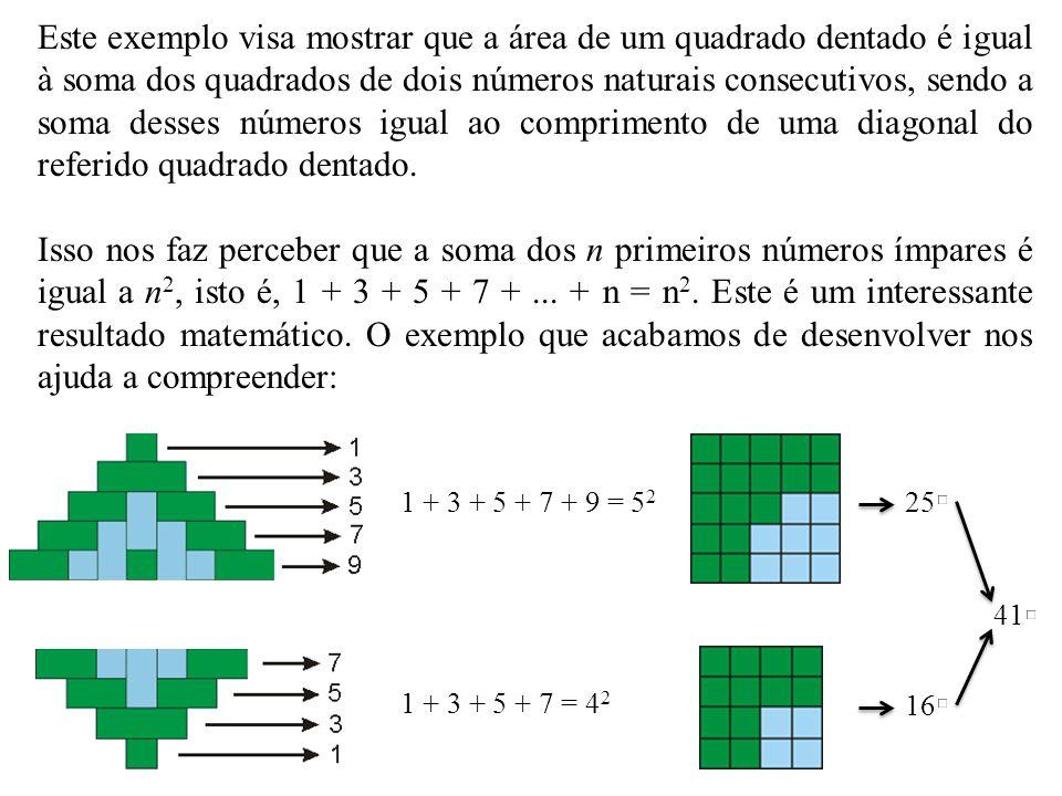 Este exemplo visa mostrar que a área de um quadrado dentado é igual à soma dos quadrados de dois números naturais consecutivos, sendo a soma desses números igual ao comprimento de uma diagonal do referido quadrado dentado.