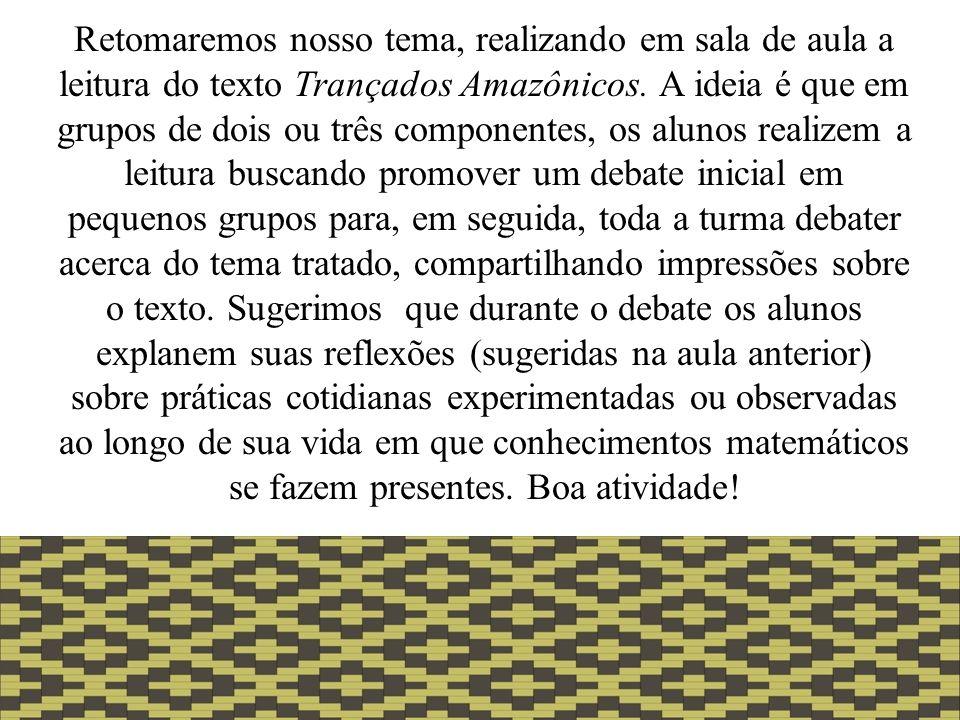 Retomaremos nosso tema, realizando em sala de aula a leitura do texto Trançados Amazônicos.