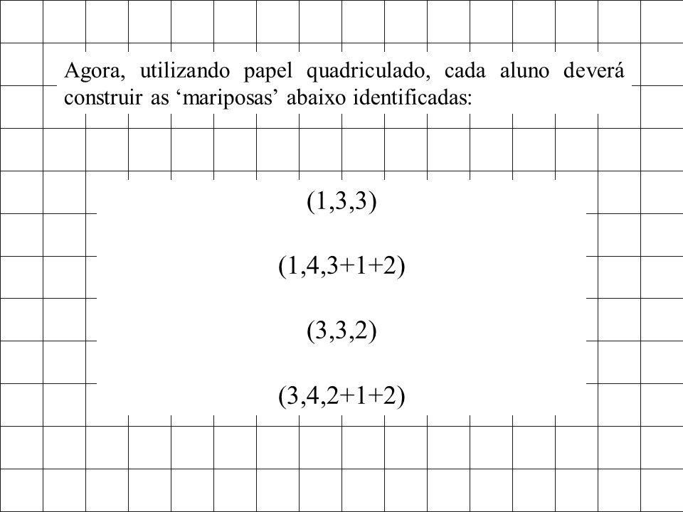 Agora, utilizando papel quadriculado, cada aluno deverá construir as 'mariposas' abaixo identificadas: