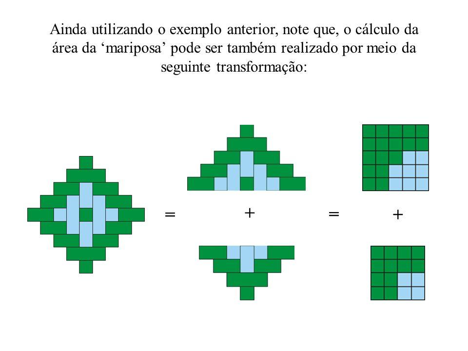 Ainda utilizando o exemplo anterior, note que, o cálculo da área da 'mariposa' pode ser também realizado por meio da seguinte transformação: