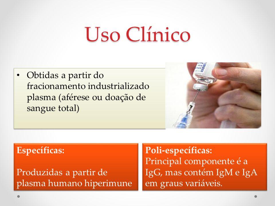 Uso Clínico Obtidas a partir do fracionamento industrializado plasma (aférese ou doação de sangue total)