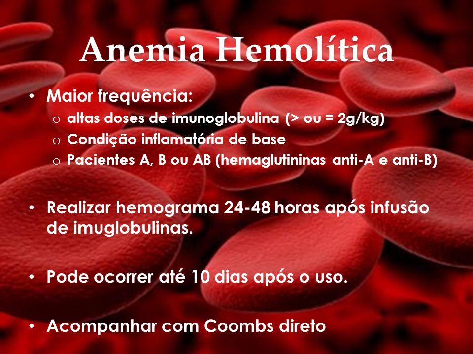 Anemia Hemolítica Maior frequência: