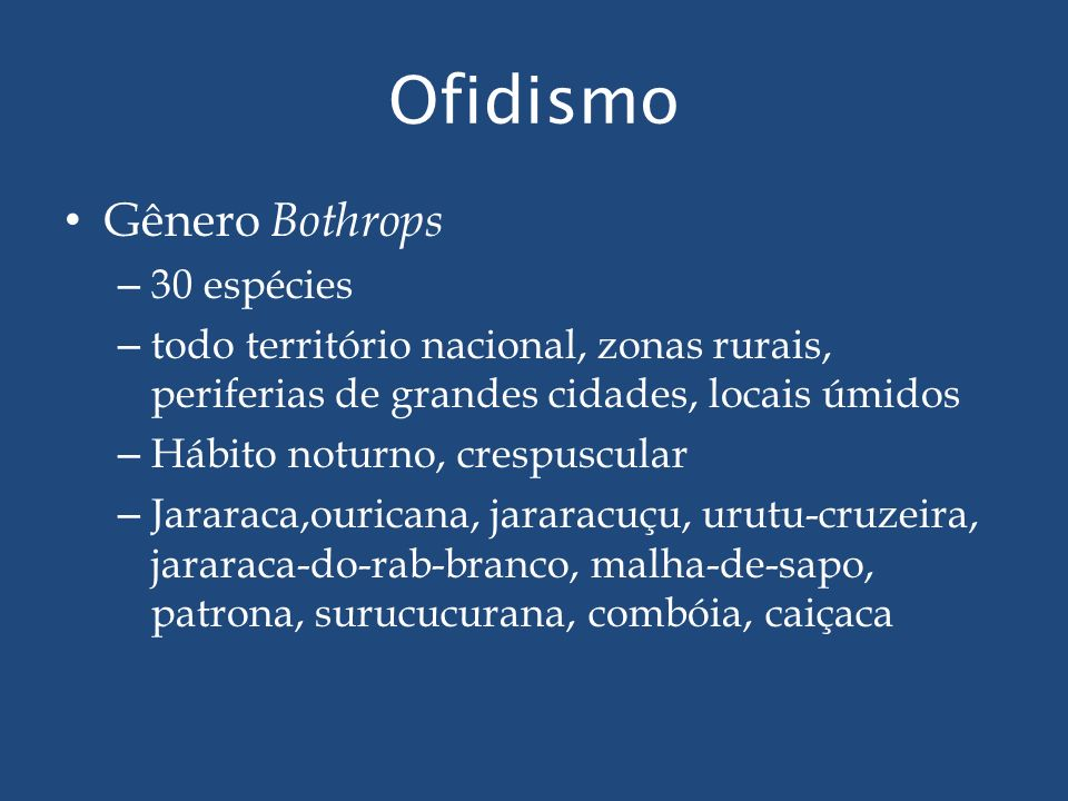 Ofidismo Gênero Bothrops 30 espécies