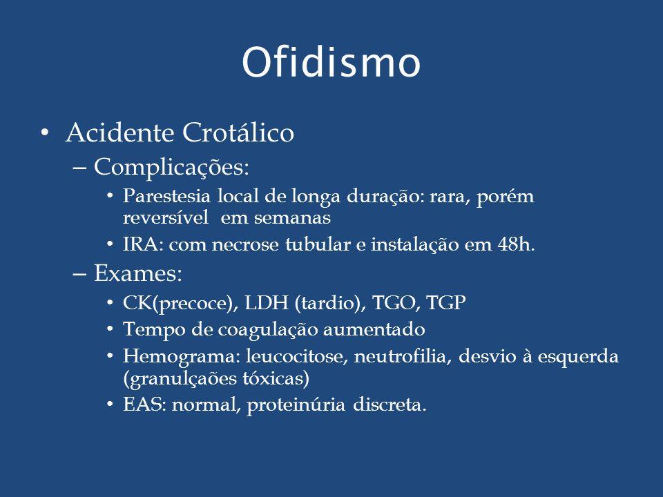 Ofidismo Acidente Crotálico Complicações: Exames: