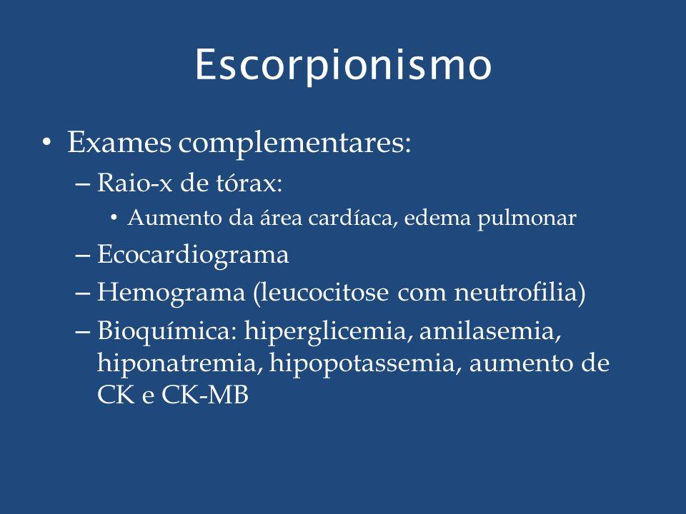 Escorpionismo Exames complementares: Raio-x de tórax: Ecocardiograma