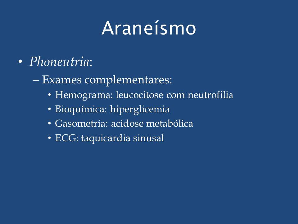 Araneísmo Phoneutria: Exames complementares: