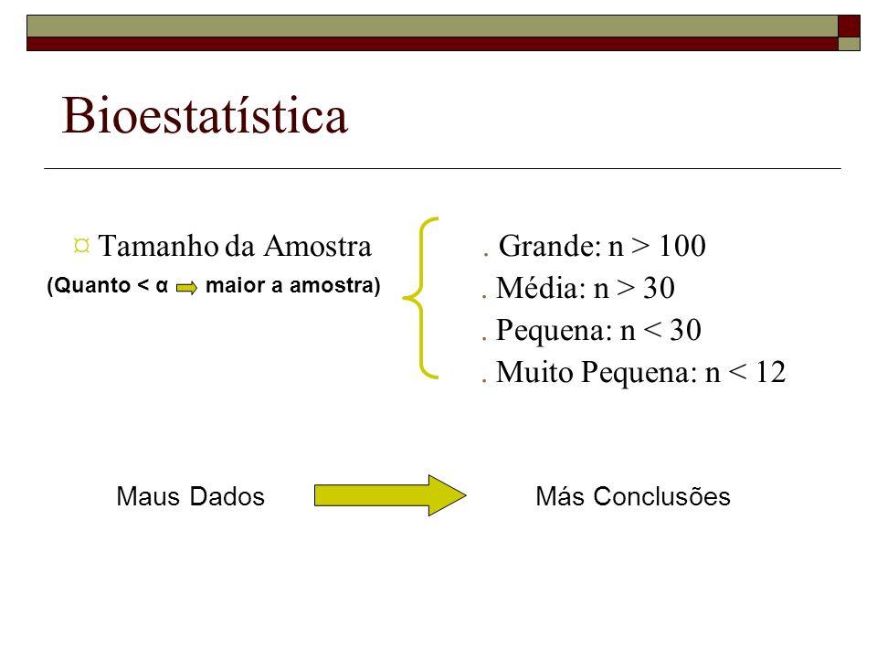 Bioestatística ¤ Tamanho da Amostra . Grande: n > 100