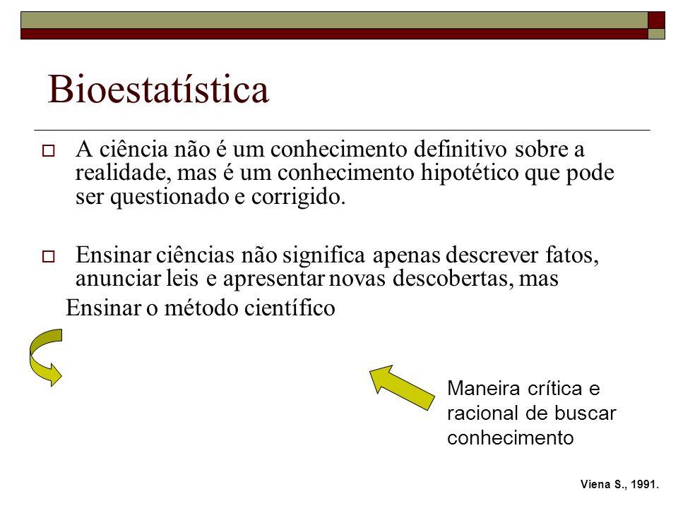 Bioestatística A ciência não é um conhecimento definitivo sobre a realidade, mas é um conhecimento hipotético que pode ser questionado e corrigido.