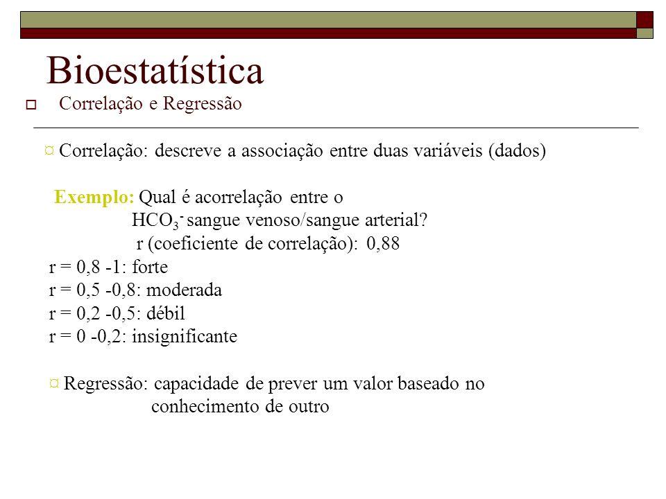 Bioestatística Correlação e Regressão