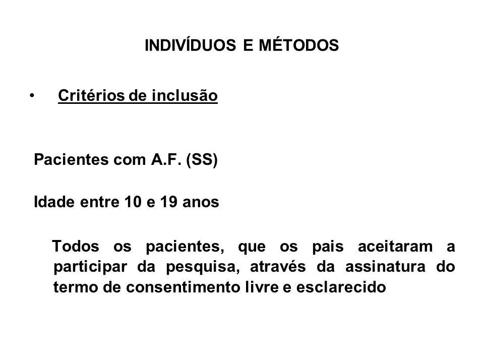 INDIVÍDUOS E MÉTODOS Critérios de inclusão. Pacientes com A.F. (SS) Idade entre 10 e 19 anos.